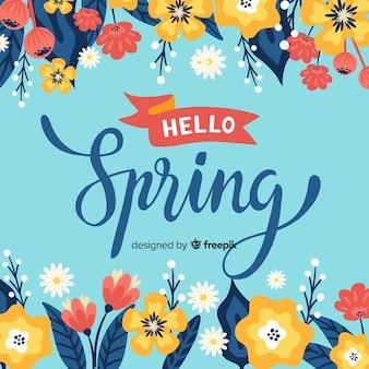 Hand getrokken bloemen lente achtergrond