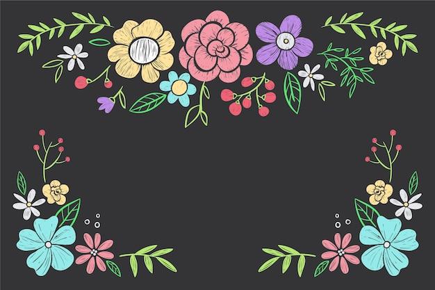 Hand getrokken bloemen op blackboard behang