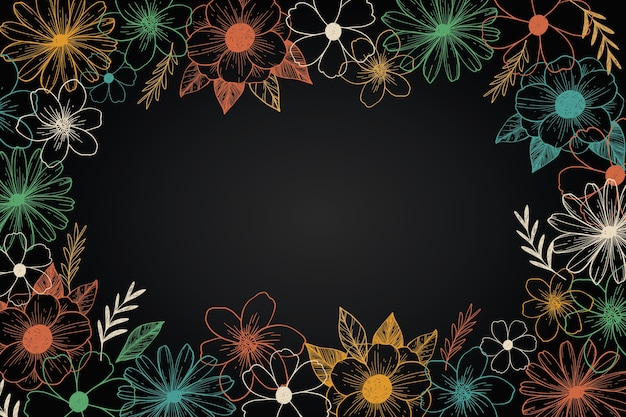 Hand getrokken bloemen op blackboard
