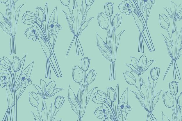 Hand getrokken bloemen op pastel achtergrond