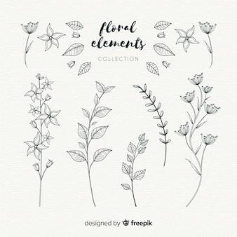Hand getrokken bloemen sierelementen