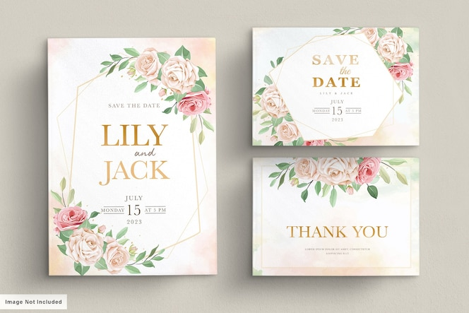 Hand getrokken bloemen uitnodigingskaart