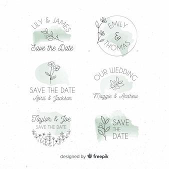 Hand getrokken bloemenhuwelijksinkjes