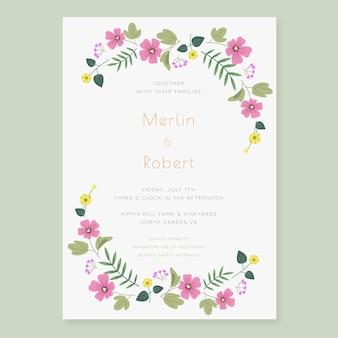 Hand getrokken bloemenhuwelijksuitnodiging