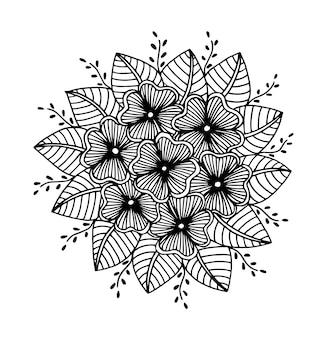 Hand getrokken bloemenkrabbel. kleurplaten voor boek