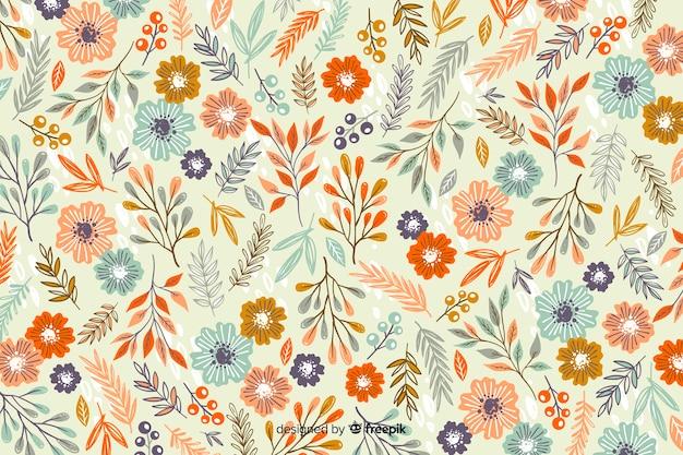 Hand getrokken bloemenpatroonachtergrond