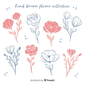 Hand getrokken bloemenschetseninzameling