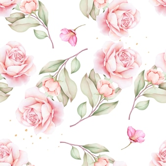 Hand getrokken bloemenwaterverf naadloos patroon