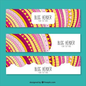 Hand getrokken blog headers in etnische stijl