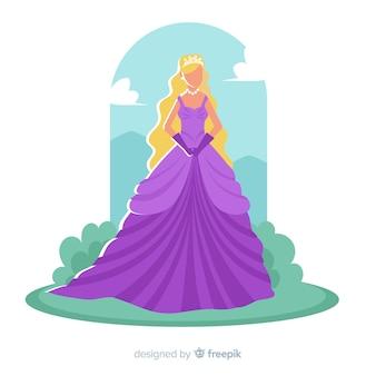 Hand getrokken blonde prinses karakter