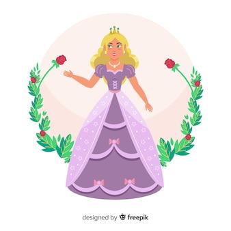 Hand getrokken blonde prinses portret