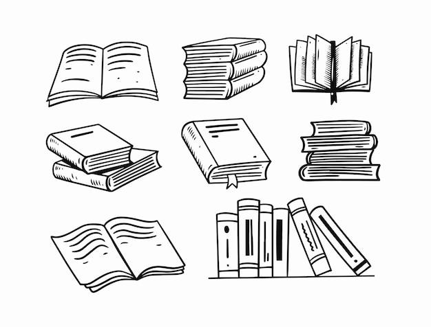 Hand getrokken boeken doodle set illustratie