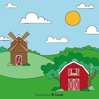 Hand getrokken boerderij landschap-achtergrond