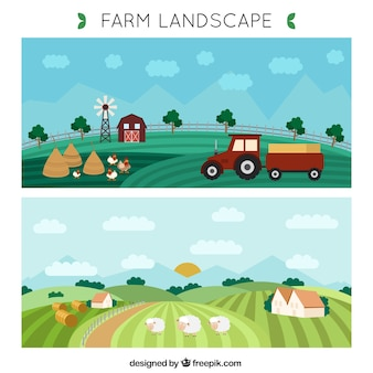 Hand getrokken boerderij landschap banners