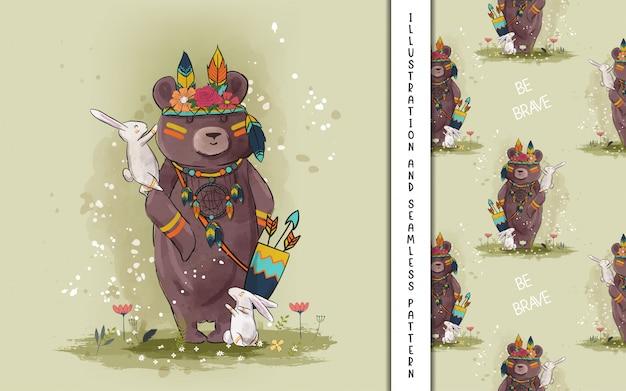 Hand getrokken boho beer en konijn voor kinderen