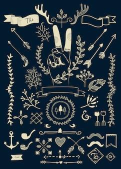 Hand getrokken boho doodle elementen vectoren collectie