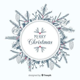 Hand getrokken boomtakken kerstmis achtergrond