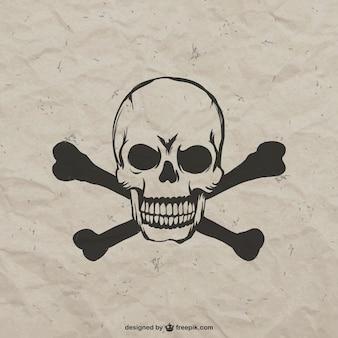 Hand getrokken boos schedel