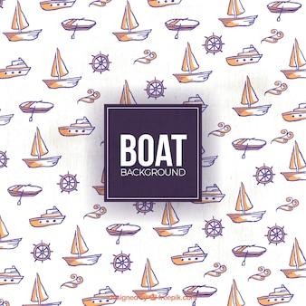 Hand getrokken boot en roer achtergrond