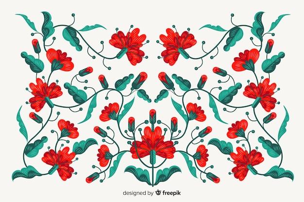 Hand getrokken borduurwerk bloemenachtergrond