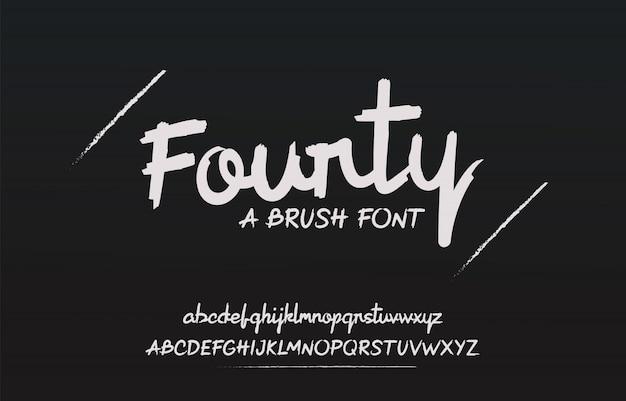 Hand getrokken borstel lettertype met ruwe en vetgedrukte letters