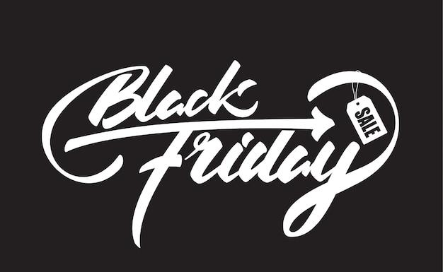 Hand getrokken borstel samenstelling belettering met black friday en verkoop label geïsoleerd