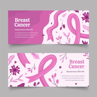 Hand getrokken borstkanker bewustzijn maand horizontale banners set