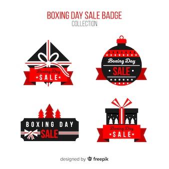 Hand getrokken boxing dag verkoop badge collectie
