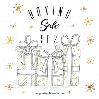 Hand getrokken boxing day verkoop achtergrond