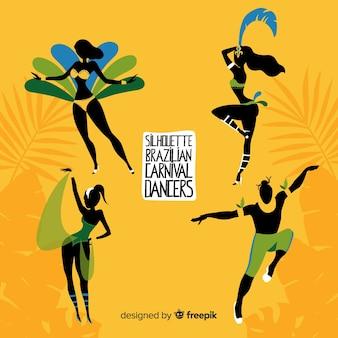 Hand getrokken braziliaanse carnaval danser collectie