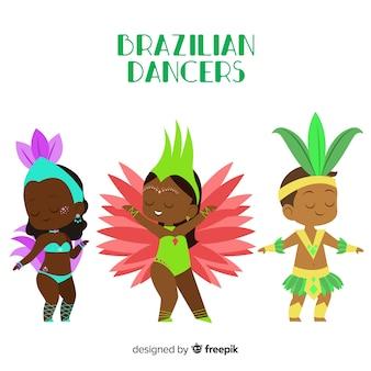 Hand getrokken braziliaanse carnaval danseres set