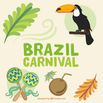 Hand getrokken brazilië carnaval elementen