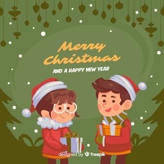 Hand getrokken broers en zussen kerstmis achtergrond