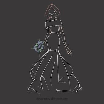 Hand getrokken bruid jurk schets