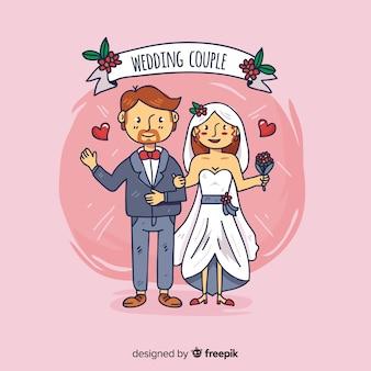 Hand getrokken bruidspaar achtergrond