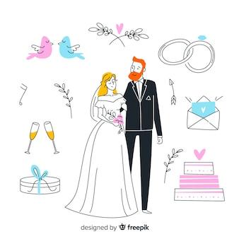 Hand getrokken bruidspaar en elementen