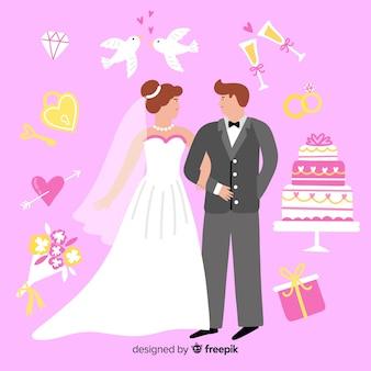 Hand getrokken bruidspaar met ornamenten