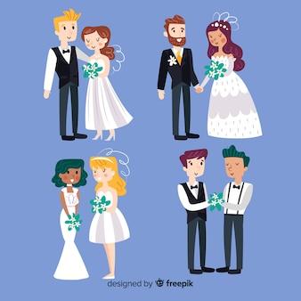 Hand getrokken bruidspaarinzameling