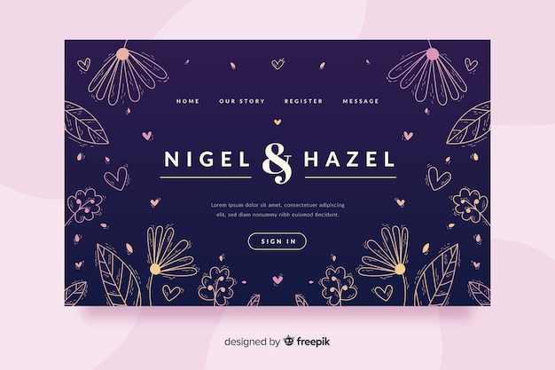 Hand getrokken bruiloft bestemmingspagina sjabloon