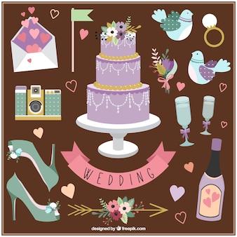 Hand getrokken bruiloft decoratie en essentiële elementen