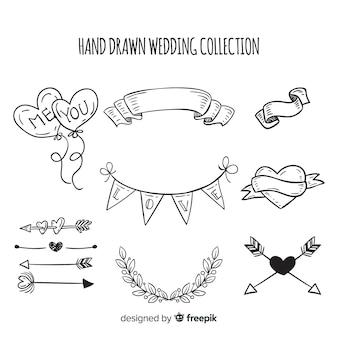 Hand getrokken bruiloft element collectie