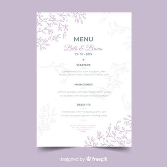 Hand getrokken bruiloft menusjabloon