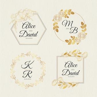 Hand getrokken bruiloft monogram logo-collectie