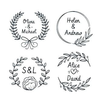 Hand getrokken bruiloft monogram logo's
