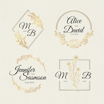 Hand getrokken bruiloft monogram logo set