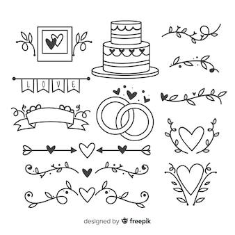 Hand getrokken bruiloft ornamenten collectie