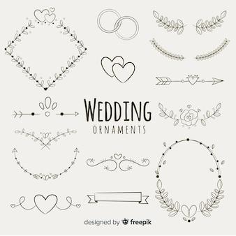 Hand getrokken bruiloft sieraad collectie