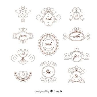 Hand getrokken bruiloft steekwoord collectie
