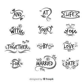 Hand getrokken bruiloft steekwoord