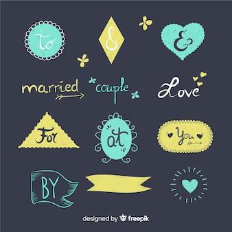 Hand getrokken bruiloft trefwoord verzameling